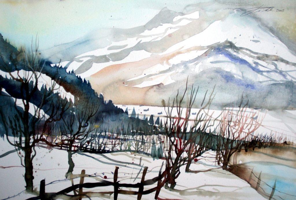 bild winterlandschaft aquarellmalerei winterlandscape