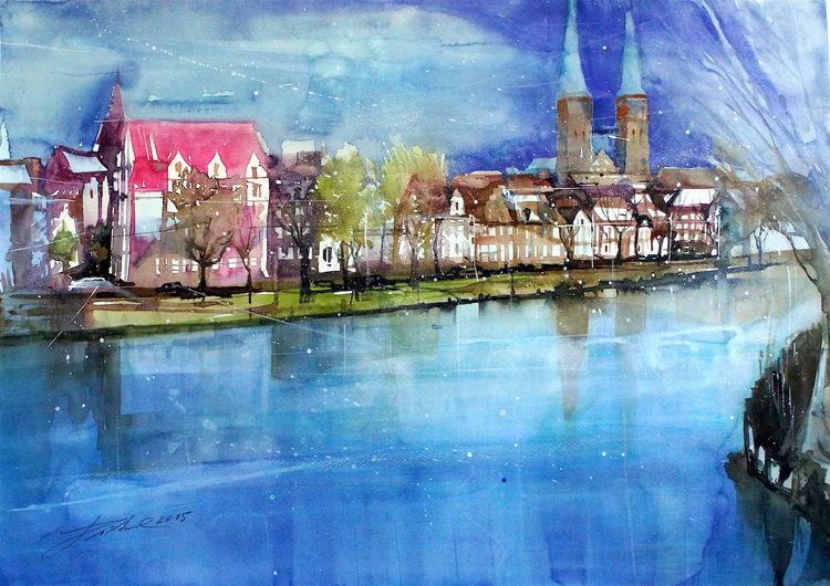 Trave, Fluss, Deutschland, Aquarellmalerei, Malerwinkel, Dom
