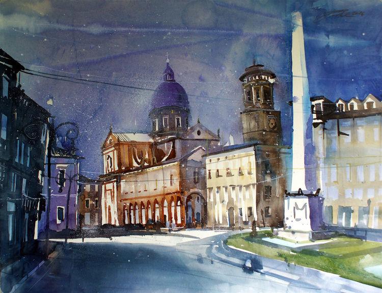 Reggio nell´emilia, Stadtansichten, Piazza, Kirche, Vincenzo, Obelisco