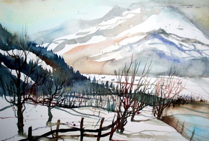 Pinzgau, Aquarellmalerei, Winterlandscape, Winterlandschaft, Aquarell