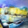 Aquarellmalerei, Hafen, Kroatien, Boot