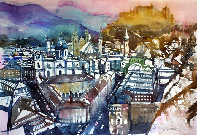 Mozartstadt, Festspielhaus, Salzburg, Festung hohensalzburg, Aquarellmalerei, Aquarell