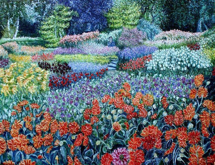 Malen, Dahliengarten, Dalí, Dahlien, Sommergarten, Blüte