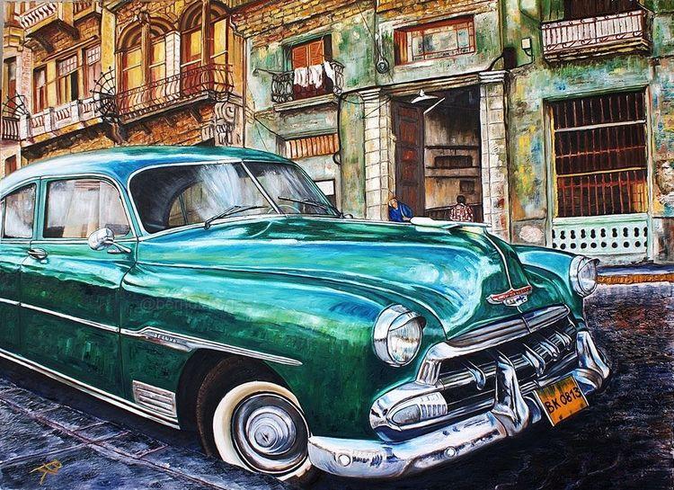 Kuba, Eine letzte havanna, Oldtimer, Straße, Malerei