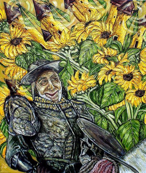 Don quijote, Windmühle, Selbstportrait, Karikatur, Berndtart, Sonnenblumen