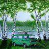 Birkenwald, Ölmalerei, Buntstift auf zeichenkarton, Studie