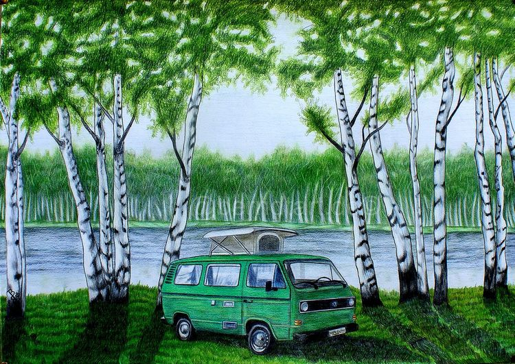 Birkenwald, Ölmalerei, Buntstift auf zeichenkarton, Studie, Bully, See