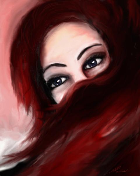 Fantasie, Gedanken, Rot, Digital, Frau, Malerei