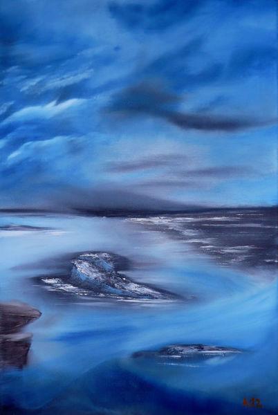 Landschaft, Meerblick, Ölmalerei, Gemälde, Sturm, Malerei