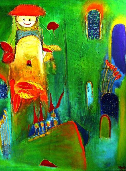 Malerei, Abstrakt, Grün,