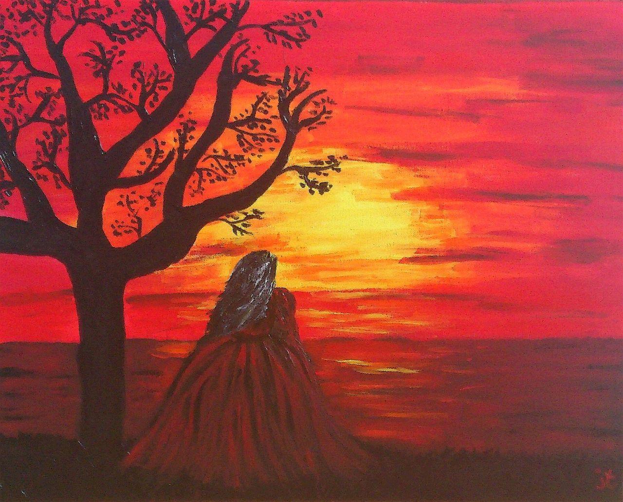romantic woman meer romantisch romantik sonnenuntergang von janine thoms bei kunstnet. Black Bedroom Furniture Sets. Home Design Ideas