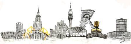 Industrie, Rathaus, Stadt, Kirche, Fassade, Panorama