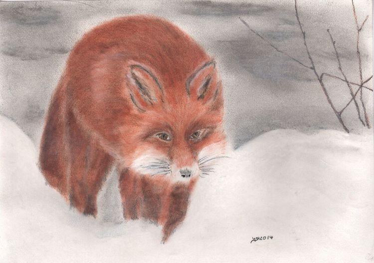 Zeichnung, Fuchs, Pastellmalerei, Winter, Tiere, Schnee