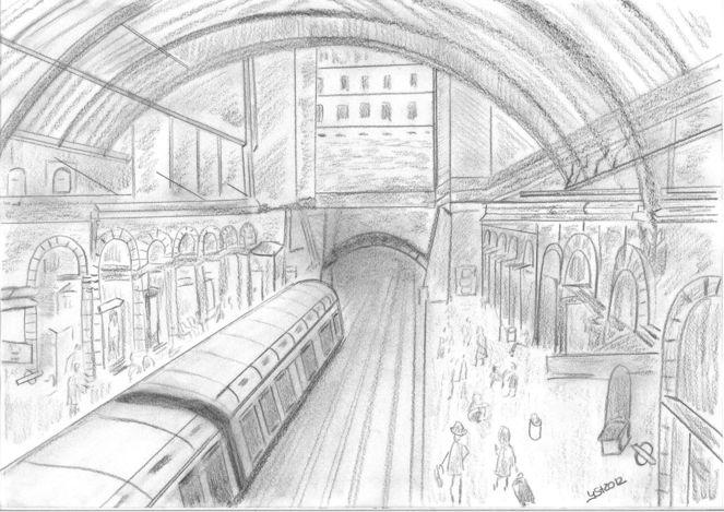Unterirdisch, Zug, Bahnhof, Grafit, Station, England
