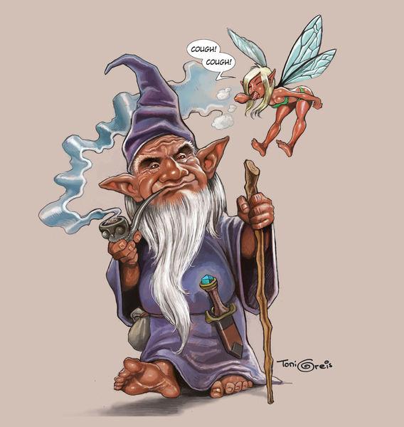 Zwerg, Pfeife, Elfen, Zauberer, Illustrationen