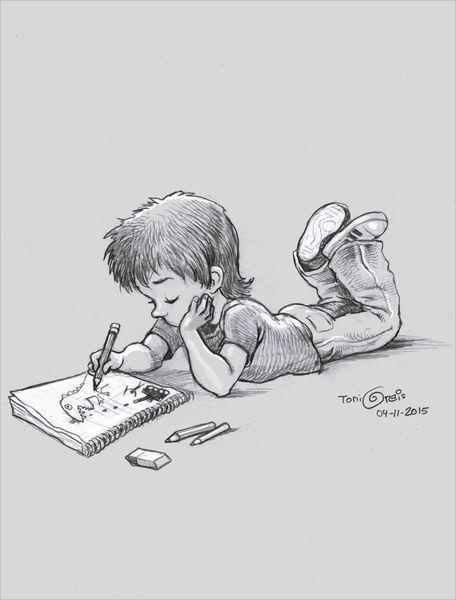Zeichnung, Bleistiftzeichnung, Kind, Zeichnen, Zeichnungen