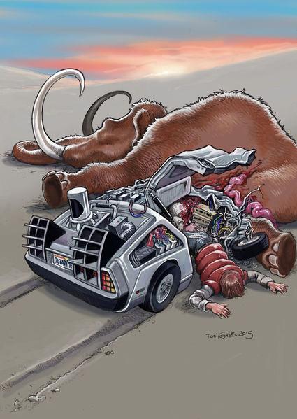 Zeitmaschine, Mammut, Unfall, Illustrationen