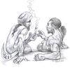 Religion, Joint, Bleistiftzeichnung, Zeichnungen