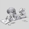 Zeichnen, Zeichnung, Bleistiftzeichnung, Kind