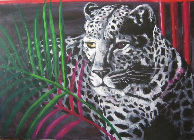 Leopard, Acrylmalerei, Malerei, Tiere, Schneeleopard