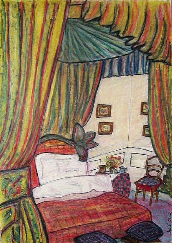 Vorhang, Zimmer, Schlafzimmer, Malerei