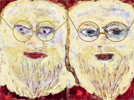 Zwillinge, Portrait, Weihnachtsmann, Gesicht, Mischtechnik