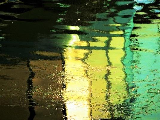 Fluss, Licht, Donau, Spiegelung, Wasser, Verzerrung