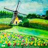 Aquarellmalerei, Landschaft, Niederlande, Windmühle