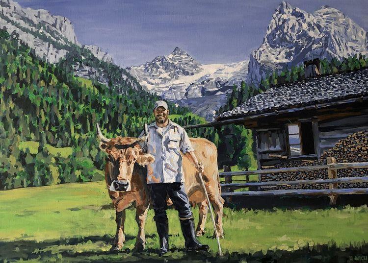 Berge, Grün, Alp, Kuh, Portrait, Malerei