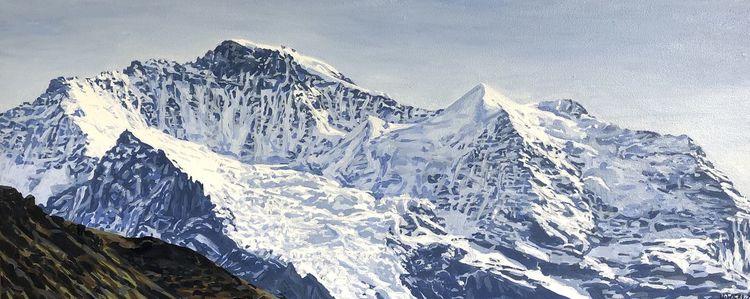 Alpen, Berge, Gletscher, Schnee, Malerei