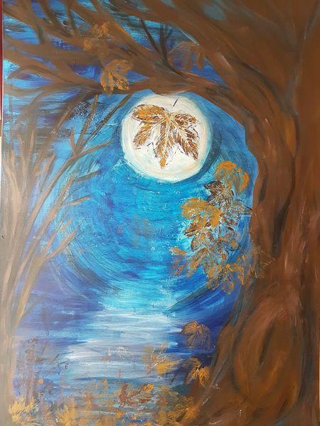 Mondnacht, Weg, Blätter baum strauch, Leuchten, Stille, Himmel