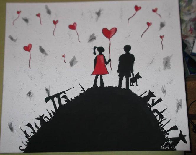 Rot schwarz, Kinder, Waffe, Weiß, Malerei, Welt
