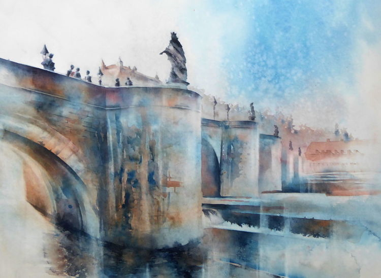 Aquarellmalerei, Würzburg, Main, Alte mainbrücke, Mainbrücke, Unterfranken