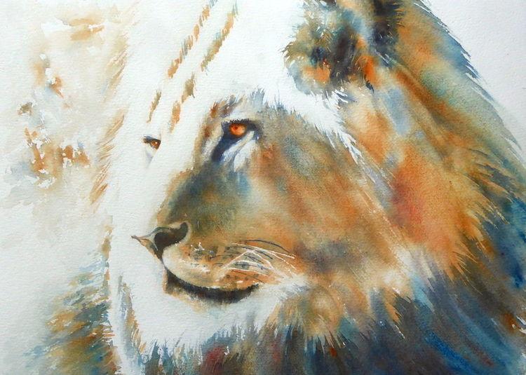 Tiere, Weihnachten, Löwe, Aquarellmalerei, Geschenk, Deep in thought