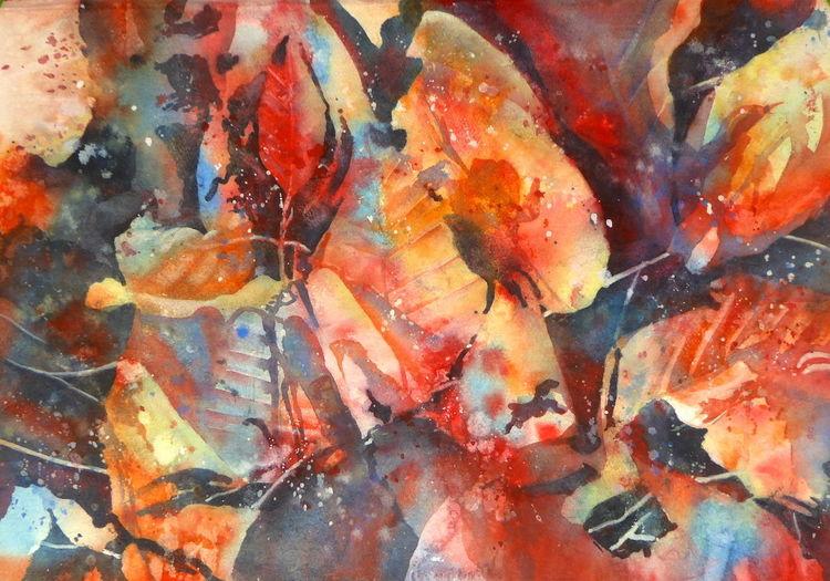Laub, Licht, Blätter, Herbst, November, Aquarellmalerei