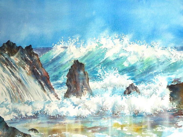 Meer, Wasser, Aquarellmalerei, Strand, Ozean, Welle