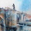 Aquarellmalerei, Main, Mainbrücke, Alte mainbrücke