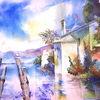 Gardasee, Aquarellmalerei, San vigilio, Italien