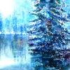 Baum, Teich, Winter, Aquarellmalerei