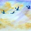 Aquarellmalerei, Kranich, Kran, Vogelflug