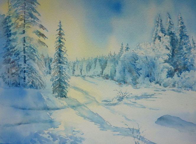 Sonne, Weiß, Schnee, Aquarellmalerei, Winter, Schneebedeckt