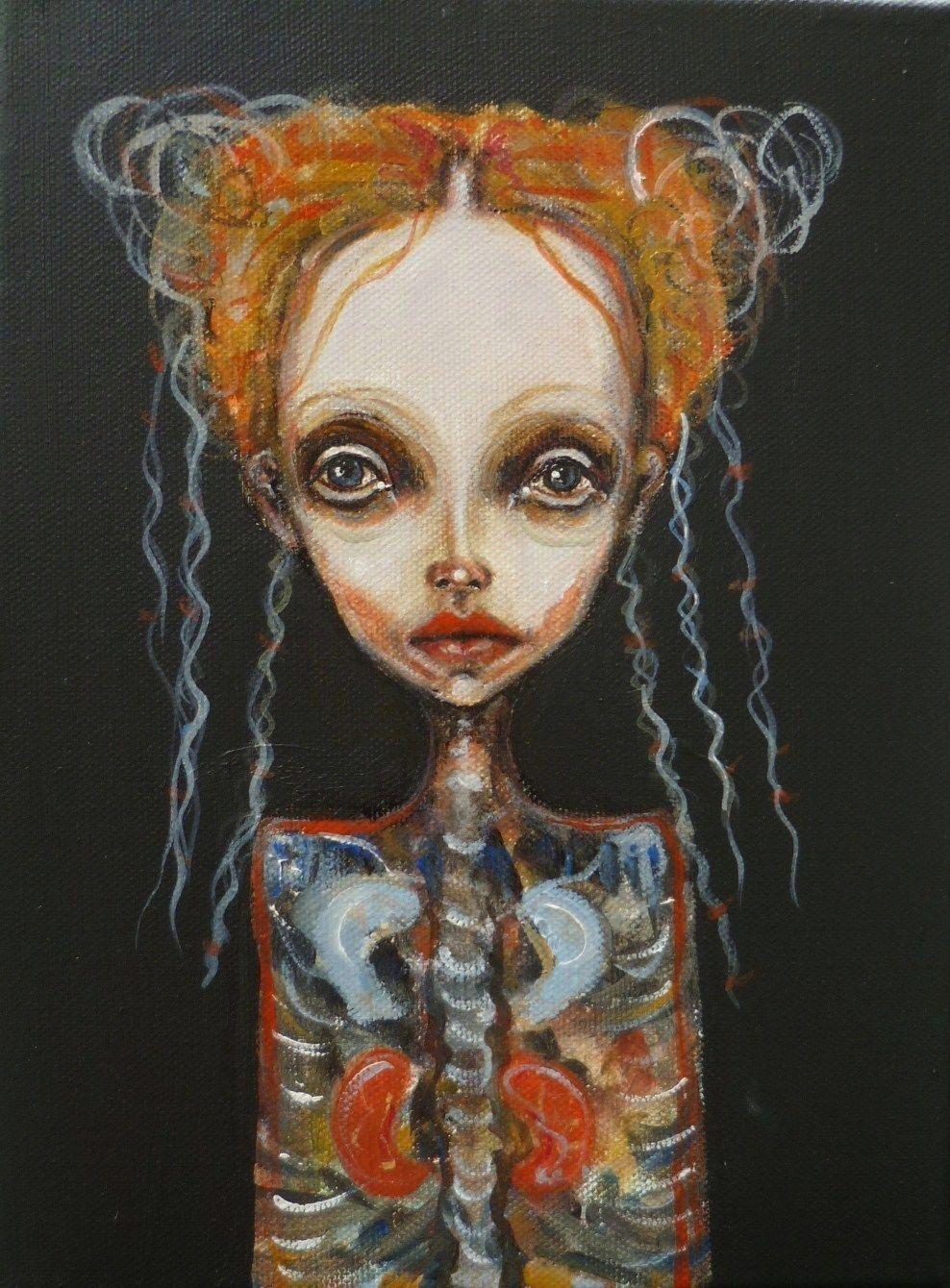 portrait - Mädchen, Anatomie, Schwarz, Figurativ von BasiaB bei KunstNet