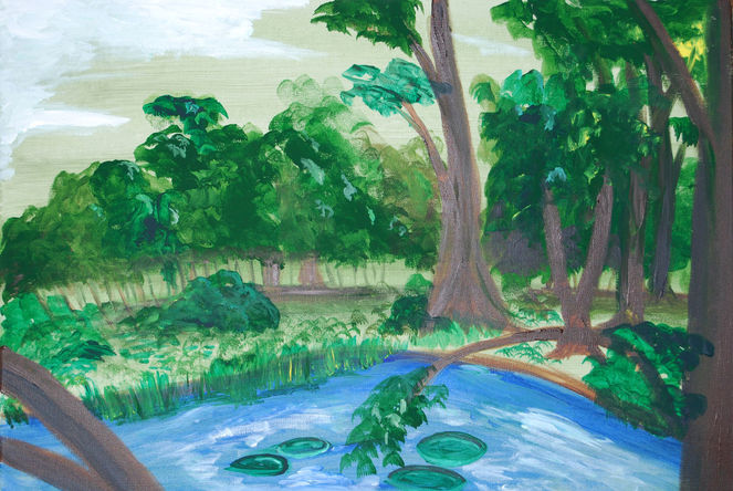 Teich, Wald, Speed painting, Sommer, Landschaft, Acrylmalerei