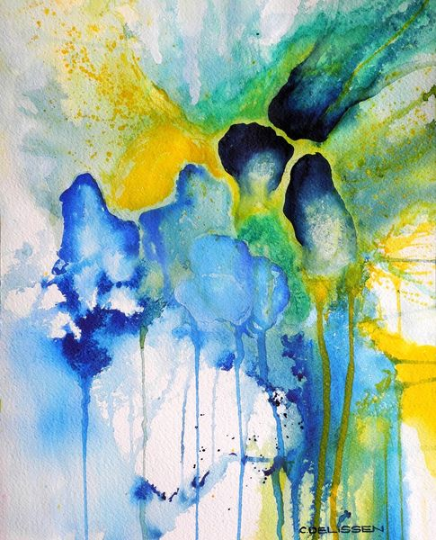 Blau, Mijello mission gold, Aquarellmalerei, Abstrakt, Aquarell, Bleu