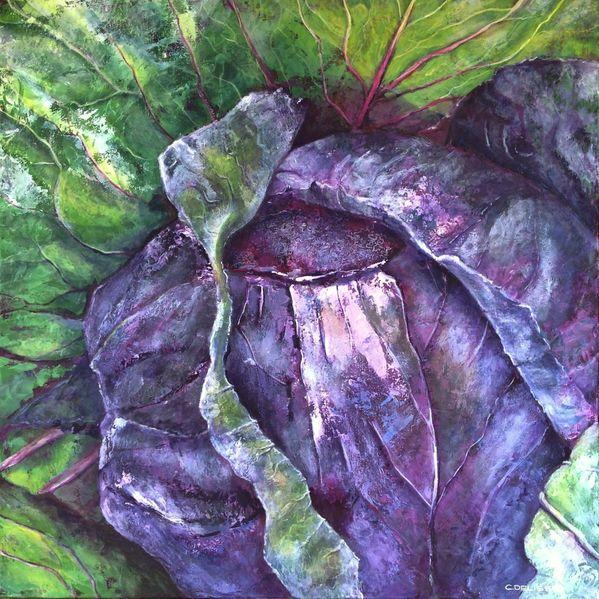 Rotkohl, Frost, Acrylmalerei, Malerei