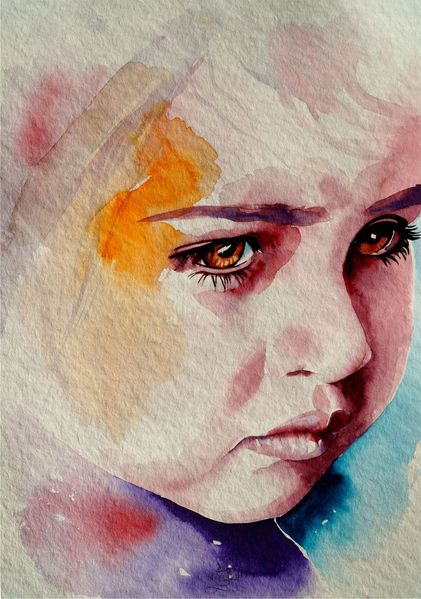 Kinderportrait, Kind, Aquarellmalerei, Portrait, Aquarell,
