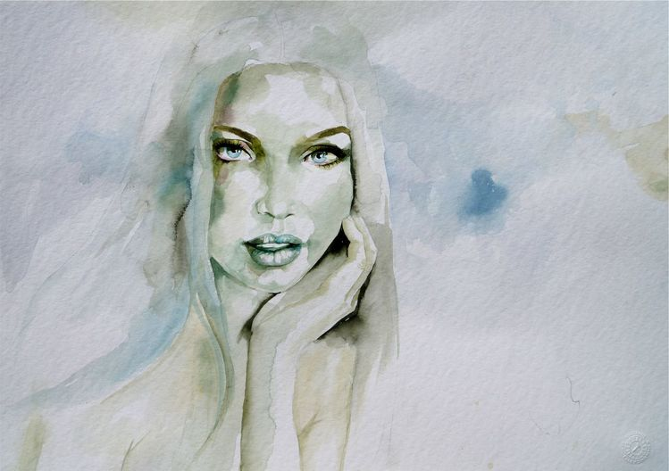 Portrait, Portrait in aquarell, Aquarell