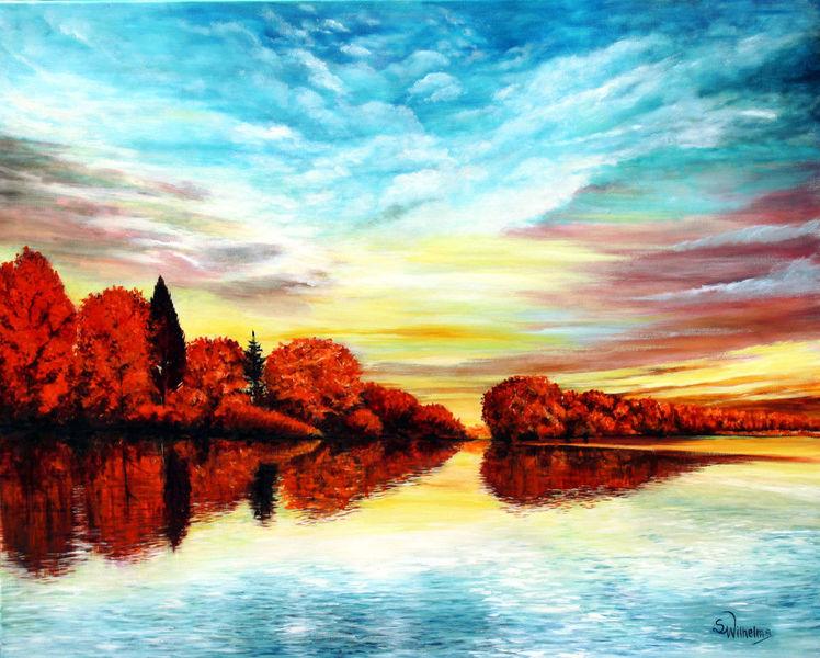 Herbst am see, Herbstfärbung, Rotes laub, Oilpainting landschaft, Bäume am ufer, Wasserspiegelung