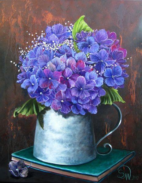 Blüte, Blumen, Stillleben, Hortensien, Malerei, Flora und fauna