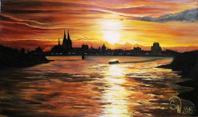 Panorama, Schiff, Dom, Rhein, Köln, Sonnenuntergang